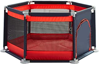 Hexagonal Sturdy Playpens Baby Playpen Anti-Fall Fence Indoor Safety Infant Play Center Yard with Thicken Cotton Pad Red