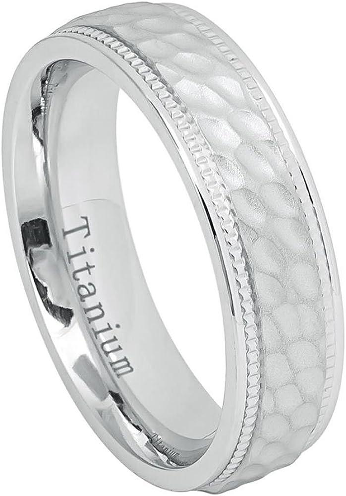 Double Accent 6MM Comfort Fit Super sale Band Austin Mall Wedding White Brushe Titanium