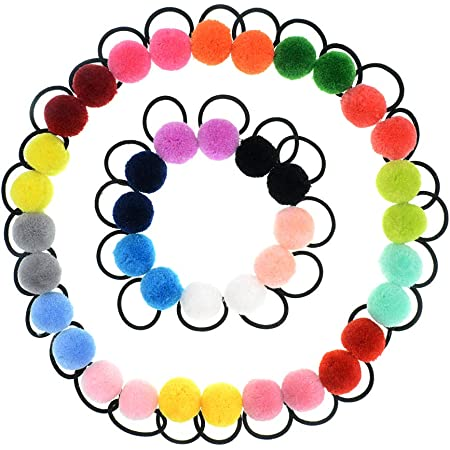 40 Mixed Color Soft Fabric Elastic Hair Rope Bands Ponytail Holder for Kids Girl
