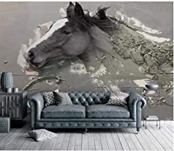 Mural wallpaper Wallpaper 3D Painting Embossed Abstract White Horse Tv Background Wall Modern @ for living room (Size : 16...