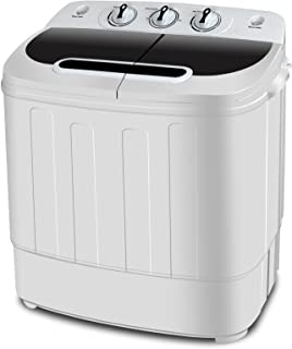 S AFSTAR Twin Tub Washing Machine 17.6-lb Compact Spain Spinner for Clothes Wash White Portable and Mini