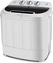 SUPER DEAL Portable Twin Tub Washing Machine w/Spin Cycle Dryer, 13Lbs Capacity w/Hose and DrainPump, Space/Time/Energy Saving