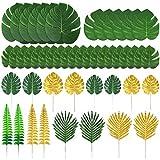Auihiay 48 piezas 11 tipos de hojas de palmera artificiales hojas de la selva dorada con tallos para decoraciones de hojas tropicales de imitación decoraciones de fiesta hawaiana