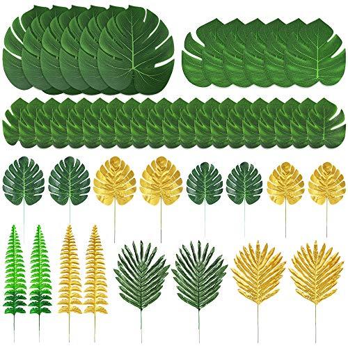 Auihiay 48 pièces 11 sortes de feuilles de palmier artificielles feuilles de jungle dorées avec des tiges pour fausses feuilles tropicales décorations décoration de fête hawaïenne