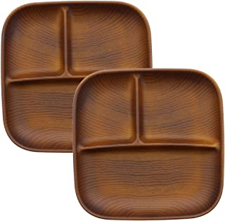 テーブルウェアイースト ランチプレート 角型3つ仕切り 食器セット レンジ・食洗機OK (2枚セット ライトブラウン)