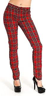 Run & Fly Women's Skinny Stretch Mid Rise Stewart Tartan Jeans Indie Retro Punk