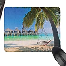Mouse Mat Beach Hammock Under Palm Leaves in Golden Heaven Beach Paradise Caribbean Peace Sun Print for Office, Gaming, Learning,15.7