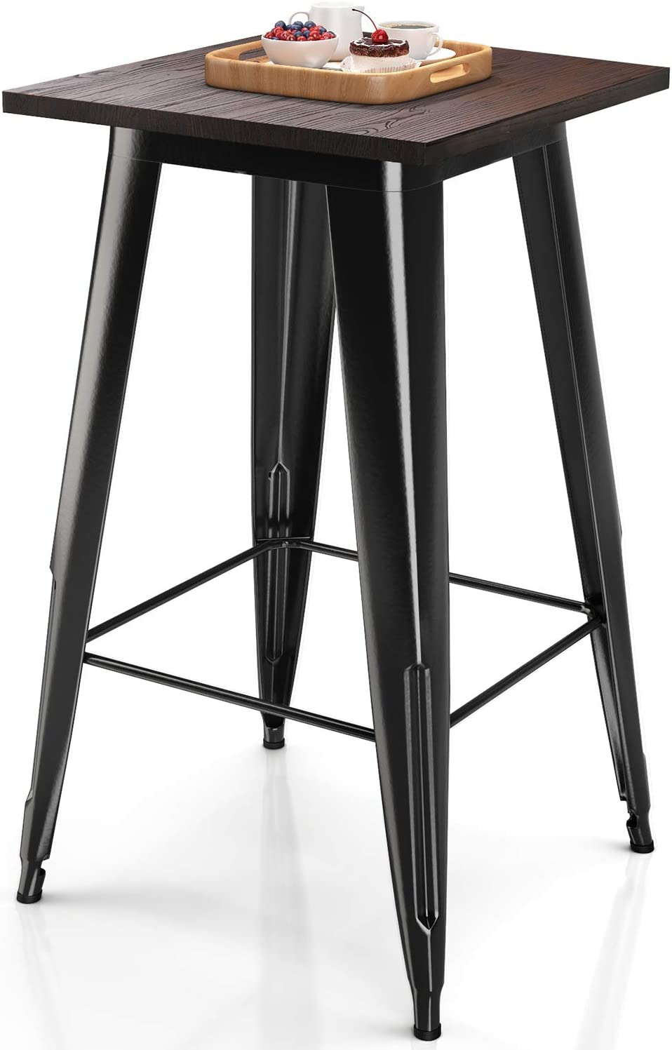 VIPEK Heavy-Duty Max 89% OFF Metal Bar Table Solid Sq At the price Elm Top Wood Inch 23.6