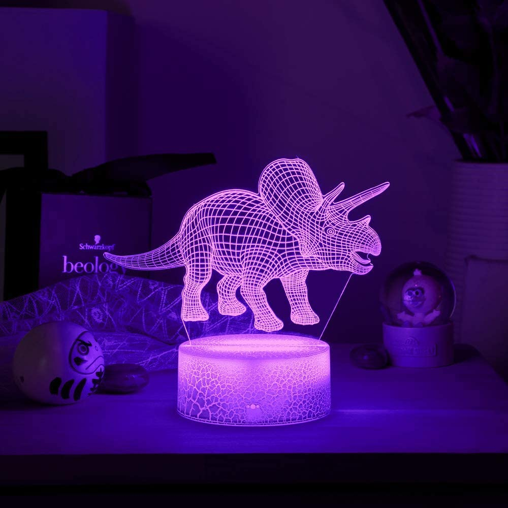 Dinosaur A yiwoo 3D Night Light with Smart Touch,Dinosaur 3D Illusion Lamp,7 Colors Dimmable Dinosaur lamp for Kids,Boy or Girl Gifts