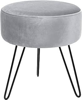 Sorbus Velvet Footrest Stool, Round Mid-Century Modern Luxe Velvet Ottoman, Footstool Side Table, Removable Metal Leg Design (Gray)