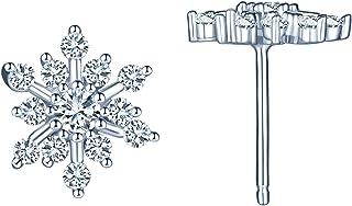 MICSAVI Argento 925 Orecchini a Forma di Fiocco di Neve, Orecchini a Bottone con Bianco Zirconi da Donna Ragazze
