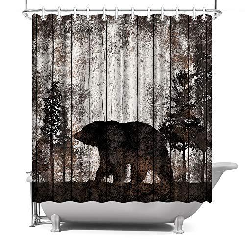 ArtBones Bear Shower Curtain Animals Theme Bear in Forest Bath Curtain with Hooks Waterproof Fabric Bathroom Decor 72x72inch Vintage Brown