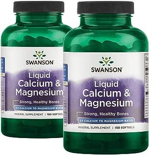 Swanson Liquid Calcium & Magnesium 300/150 Milligrams 200 Sgels 2 Bottles