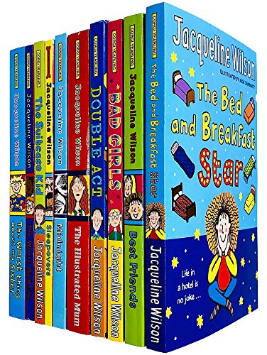 Jacqueline Wilson 10 Books Collection Set (Bed and Breakfast Star, BestFriends, Bad Girls, Double Act, Illustrated Mum, Midnight, Sleepovers, Suitcase Kid & MORE!)