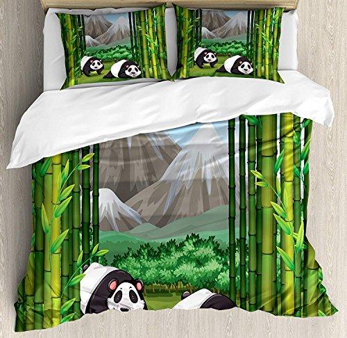 Ensemble de housse de couette Tropical King Size, ours panda marchant parmi les illustrations de dessins animés de jungle de la montagne majestueuse en bambou, ensemble de literie décoratif de 3 pièce