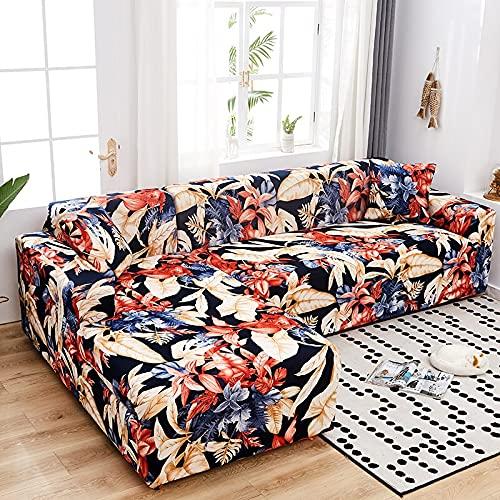 WXQY Funda de sofá elástica para Sala de Estar Funda de sofá Chaise Longue de Esquina en Forma de L Funda de sofá Antideslizante Envuelta herméticamente A17 4 plazas
