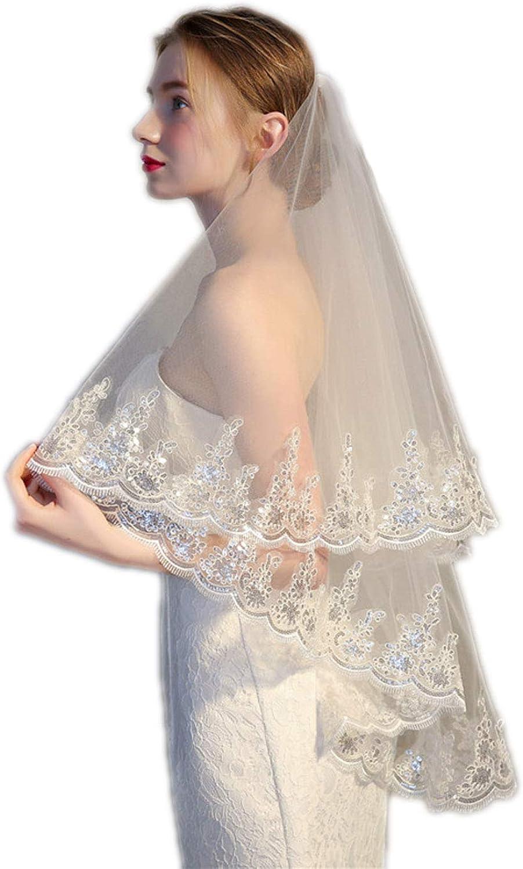 Barogirl Wedding Veil Lace Appliques 2 Tier Bridal Veil Fingertip Length with Comb
