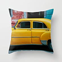 FJPT Throw Pillow Cover Old Yellow Taxi On Colorful Backdrop Cotton Pillowslip for Sofa Bed Stand Size Pillowcase 16x16 Inch