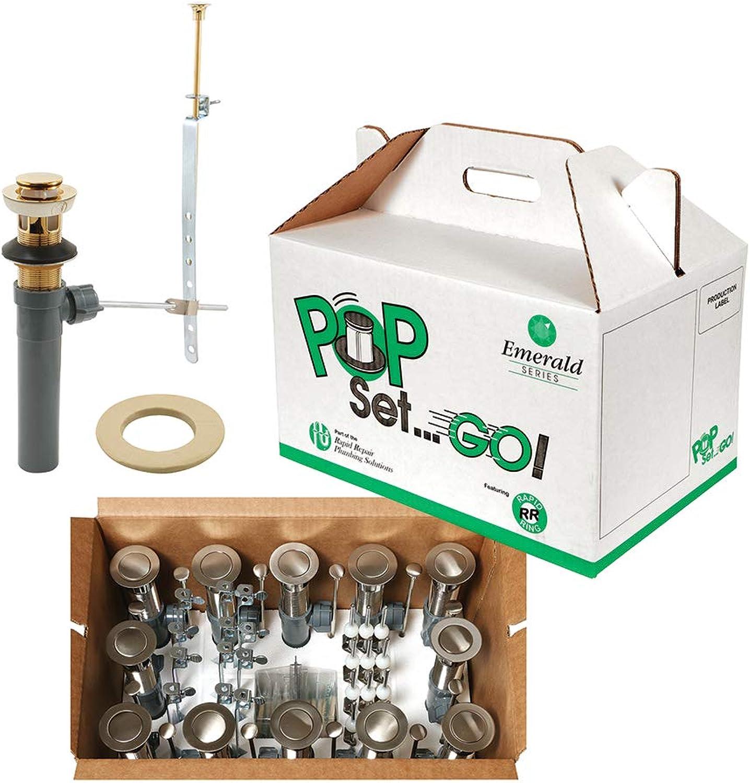 Rapid Repair RP31200PB12 50 50 POP GO Assemblies, 1-1 4 in, Polished Brass, Fits Bath Sinks, w Putty, 12 Sets