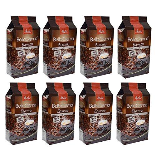 Melitta BellaCrema Espresso, 100 % Arabica, Ganze Kaffeebohnen, 1000g, 8er Pack (8 x 1kg)