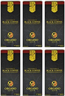 6 Boxes Organo Gold Gourmet Cafe Noir, Black Coffee 100% Certified Ganoderma Extract Sealed (1 Box of 30 Sachets)