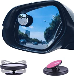 LivTee Black Framed Round Mini Blind Spot Mirror, HD Glass and Wide Angle Rearview Mirror with Adjustable Stick for Univer...
