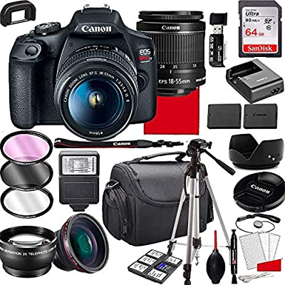 Canon EOS Rebel T7 DSLR Camera with 18-55mm f/3.5-5.6 is II Zoom Lens, 64GB Memory,Case, Tripod and More (28pc Bundle) from Canon intl