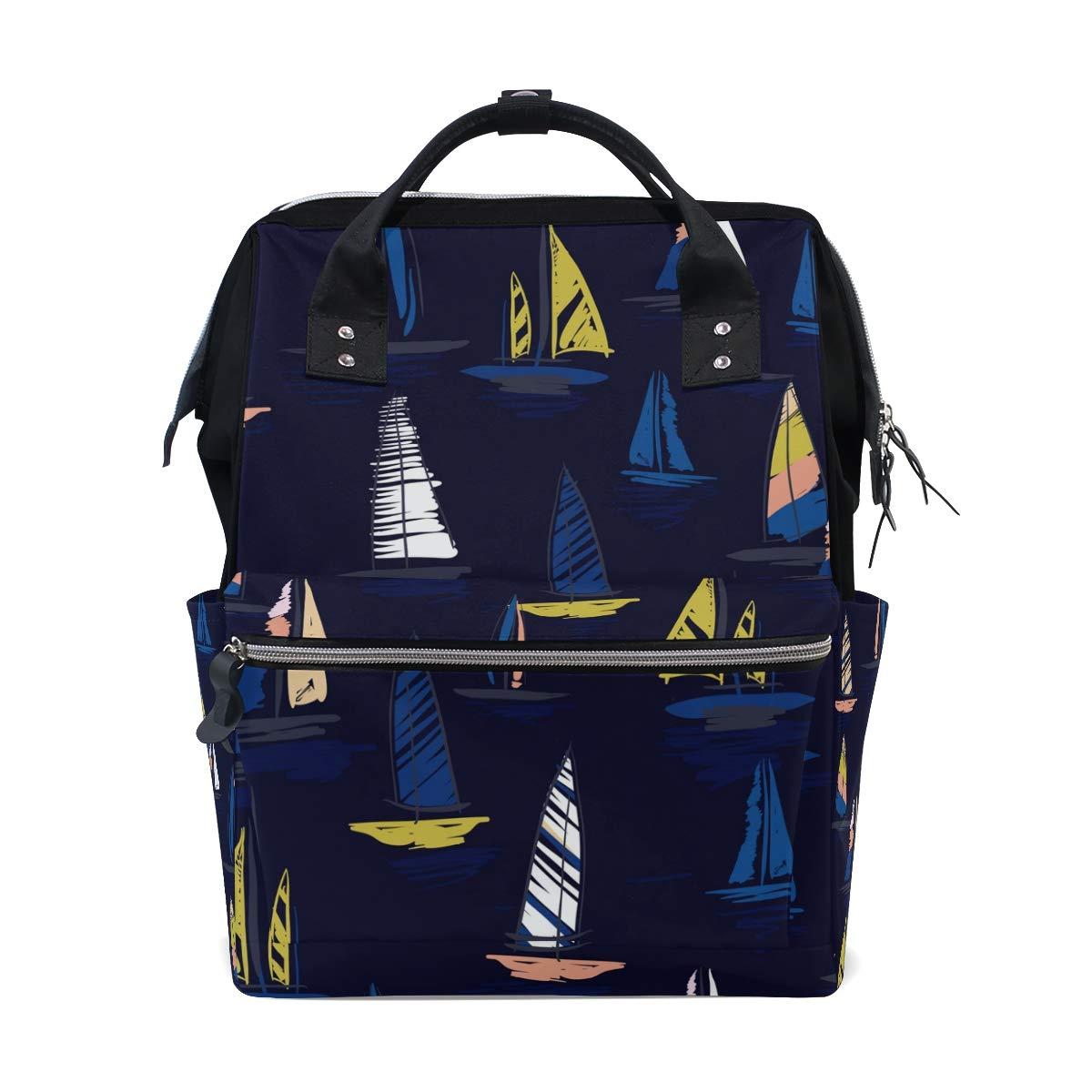 Dark Blue Sailboat Pattern School Backpack Large Capacity Mummy Bags Laptop Handbag Casual Travel Rucksack Satchel For Women Men Adult Teen Children