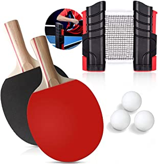 ACEBON Ping Pong Paddle Set with Retractable Table Tennis Net, Two Premium Paddles, Three Balls, and Storage Bag to Go Anywhere