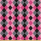 Ambesonne Abstract Fabric by The Yard, Argyle Motif with Diamonds and Lozenges Infinite Symmetric Stripes Image, Microfiber Fabric for Arts and Crafts Textiles & Decor, 1 Yard, Baby Pink