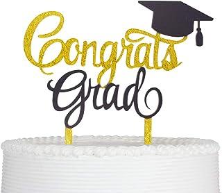 Congrats Grad Cake Topper Graduation Cake Topper Grad Party Decorations (Black)