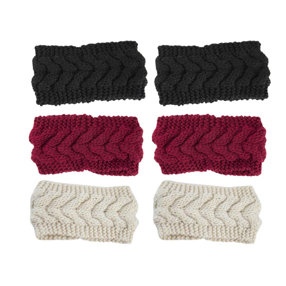 LEORX 6pcs Twist Headband Winter Wool Ear Warmer Headband Solid Color Knitted Head Wraps Set Suitable for Daily and Sport (Beige Black Red)