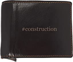 #construction - Soft Hashtag Cowhide Genuine Engraved Bifold Leather Wallet