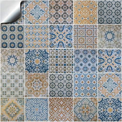 24x Mezcla gris Lámina impresa 2d PEGATINAS grises lisas para pegar sobre azulejos cuadrados de 10 x 10cm en cocina, baños gris resistentes al agua y aceite 10x10cm
