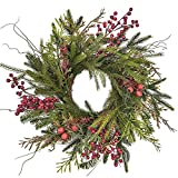 RED DECO RED DECO Christmas Door Wreath - 20-22 Inch Pine & Berry Artificial Green Wreaths for Holiday Festival Home Farmhouse Wall Decor