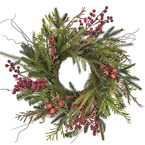RED DECO Christmas Door Wreath - 20-22 Inch Pine & Berry Artificial Green Wreaths for Holiday Festival Home Farmhouse Wall Decor