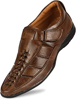 Emosis Mens Loafer Shoe - Synthetic Leather Slip-on Sandal - for Outdoor Formal Office Party Casual Ethnic Daily Use - Available in Tan Brown Black Blue White Color - 460M