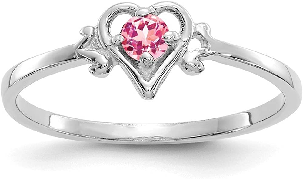 14k White Gold Pink Tourmaline Birthstone Heart Band Ring Size 7.00 Love October Fine Jewelry For Women Gifts For Her