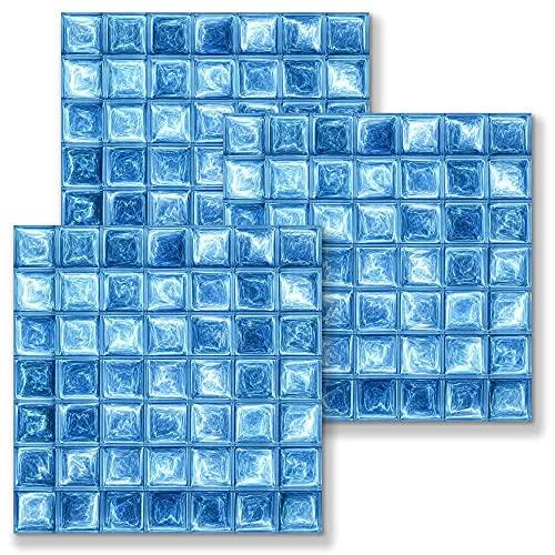 Leileixiao 10 unids/Set 3D Impermeable Autoadhesivo Mosaico Mosaico Pegatina de azulejo PVC removible Azul Fondos de Pantalla Cocina Baño Decoración del hogar (Color : Blue, Size : 15x15cm)