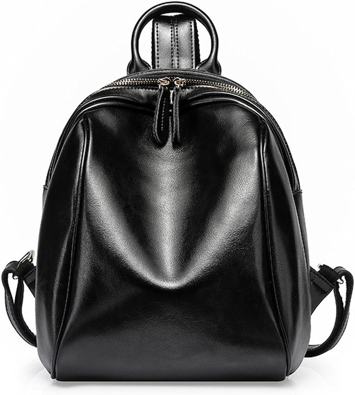 Leather Handbags Casual Simple Shoulder Bag Ladies Oil Wax Backpack Travel School Wind