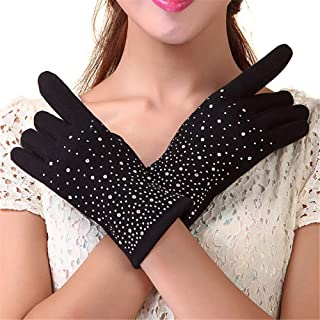 DIEBELLAU Women's Touchscreen Mittens Design Adult Female Drill Winter Gloves (Color : Black, Size : One Size)