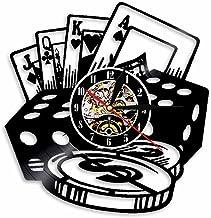 N / A 3D-Seven Colors-Remote Control-USB-Silent Wall Clock-Pork Game Decoración para el hogar Vinyl Record Wall Clock Texas Hold'em Professional Poker Card Decoration Clock Leads Light Wall Art
