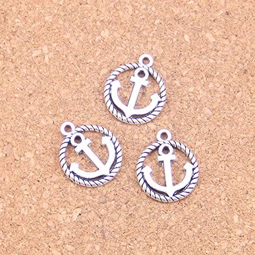 WANM Colgante 20 Piezas Encantos De Círculo De Ancla 15Mm Colgantes Antiguos Vintage Joyería De Plata Tibetana Joyería DIY para Collar De Pulsera