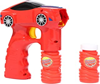 Fun Central 7 Inch LED Bubble Gun Car Shooter for Kids - Light Up Bubble Machine with Bubble Solution - Red