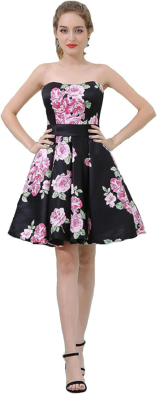 Sunnygirls Floral Evening Party Dresses Deep VNeck Short Homecoming Dresses