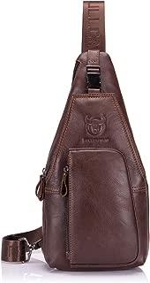 BULLCAPTAIN Genuine Leather Travel Sling Backpack Durable Men Cross Body Chest Bag XB-086