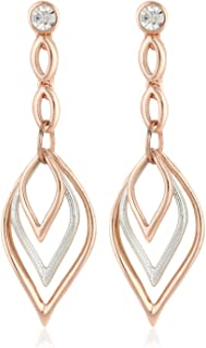 Estele Non-Precious Metal 24Kt Rose Gold And Silver Plated White Austrian crystal Stone Dangle & Drop Earrings for Girls/W...