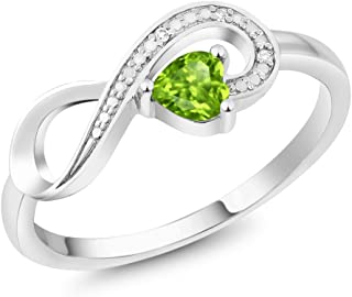 10K White Gold Green Peridot and Diamond Women's Infinity Ring 0.28 Ctw Heart Shape (Available 5,6,7,8,9)