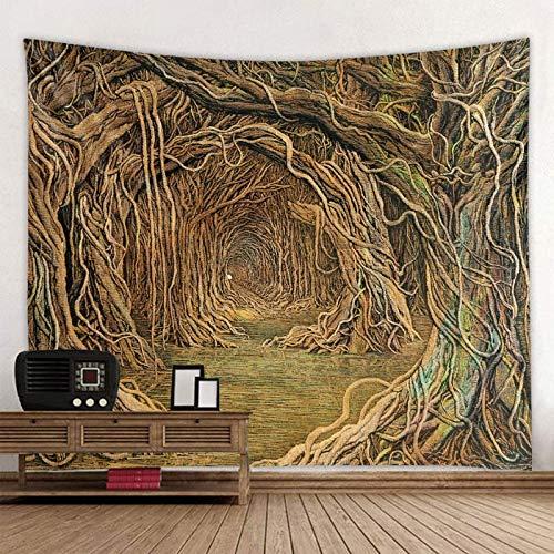 KHKJ Agujero de árbol en la Playa Scener Calidad Mandala Tapiz Indio Colgante de Pared Estera de Yoga Bohemia Alfombra de Playa de Arena A5 95x73cm