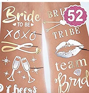 Gemich bachelorette party tattoos- bridesmaid tattoos, team bride,bridal shower favor and decorations,(4 sheets with 62 tattoos) girls nights out temporary tattoos.